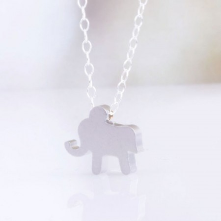 Tiny Gold Elephant Charm Necklace