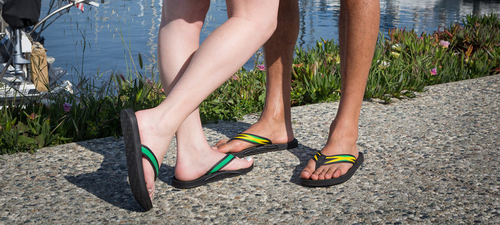 Women's Beach Flip Flops with Stash Pockets in Green