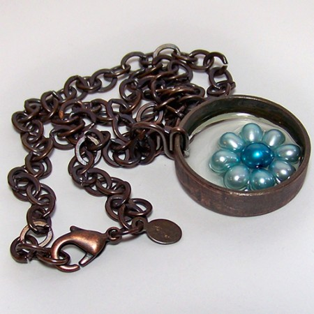 Teal Flower Small Recycled Copper Pipe Necklace